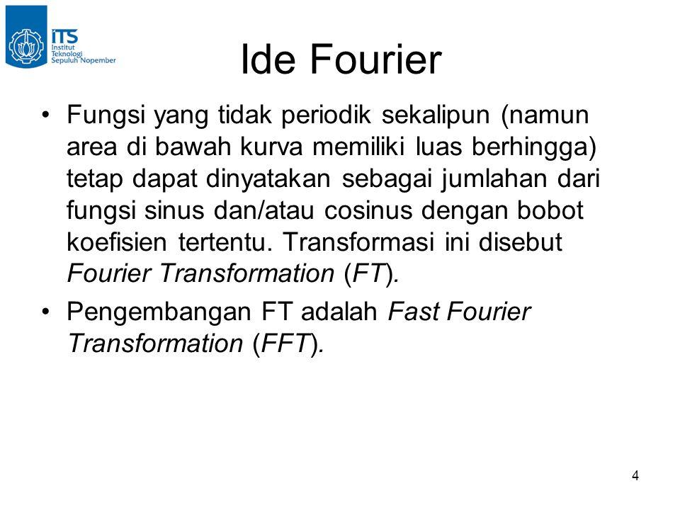 4 Ide Fourier Fungsi yang tidak periodik sekalipun (namun area di bawah kurva memiliki luas berhingga) tetap dapat dinyatakan sebagai jumlahan dari fungsi sinus dan/atau cosinus dengan bobot koefisien tertentu.