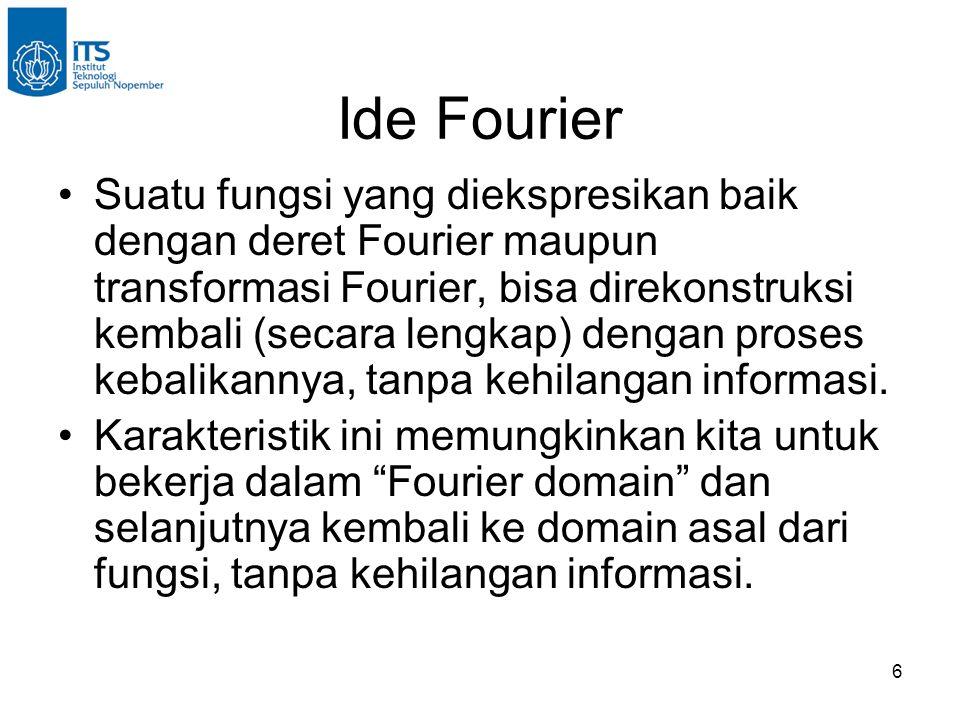 6 Suatu fungsi yang diekspresikan baik dengan deret Fourier maupun transformasi Fourier, bisa direkonstruksi kembali (secara lengkap) dengan proses kebalikannya, tanpa kehilangan informasi.
