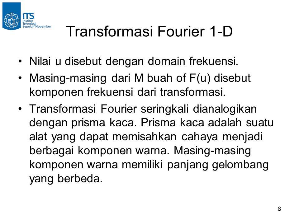 8 Transformasi Fourier 1-D Nilai u disebut dengan domain frekuensi.