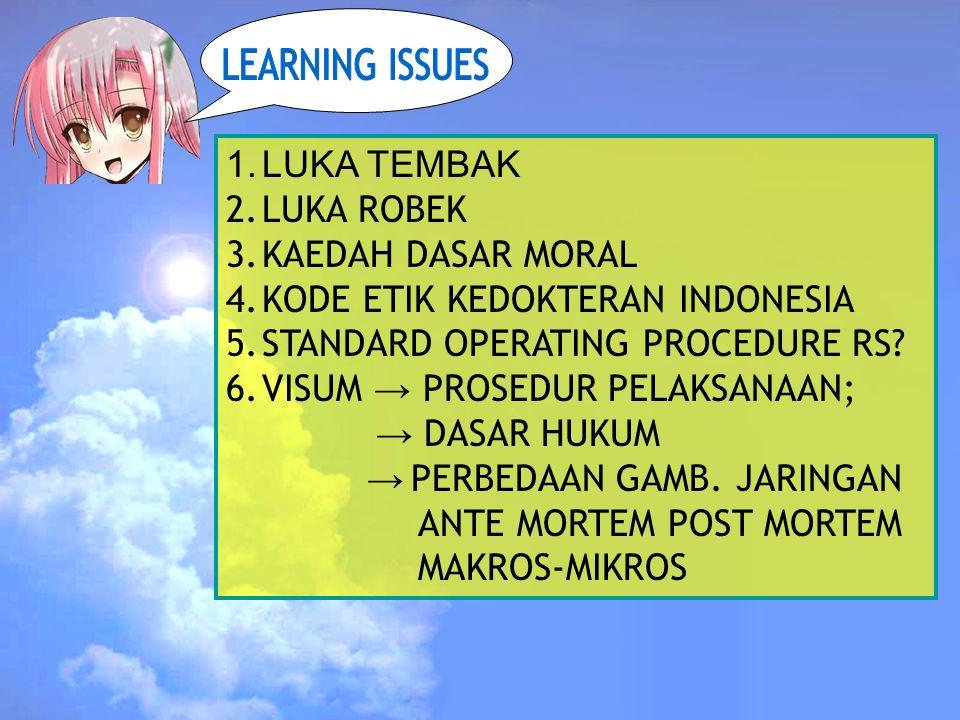 1.LUKA TEMBAK 2.LUKA ROBEK 3.KAEDAH DASAR MORAL 4.KODE ETIK KEDOKTERAN INDONESIA 5.STANDARD OPERATING PROCEDURE RS.