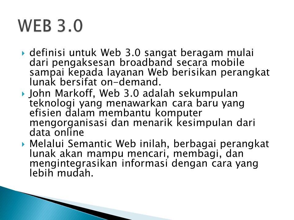  definisi untuk Web 3.0 sangat beragam mulai dari pengaksesan broadband secara mobile sampai kepada layanan Web berisikan perangkat lunak bersifat on-demand.