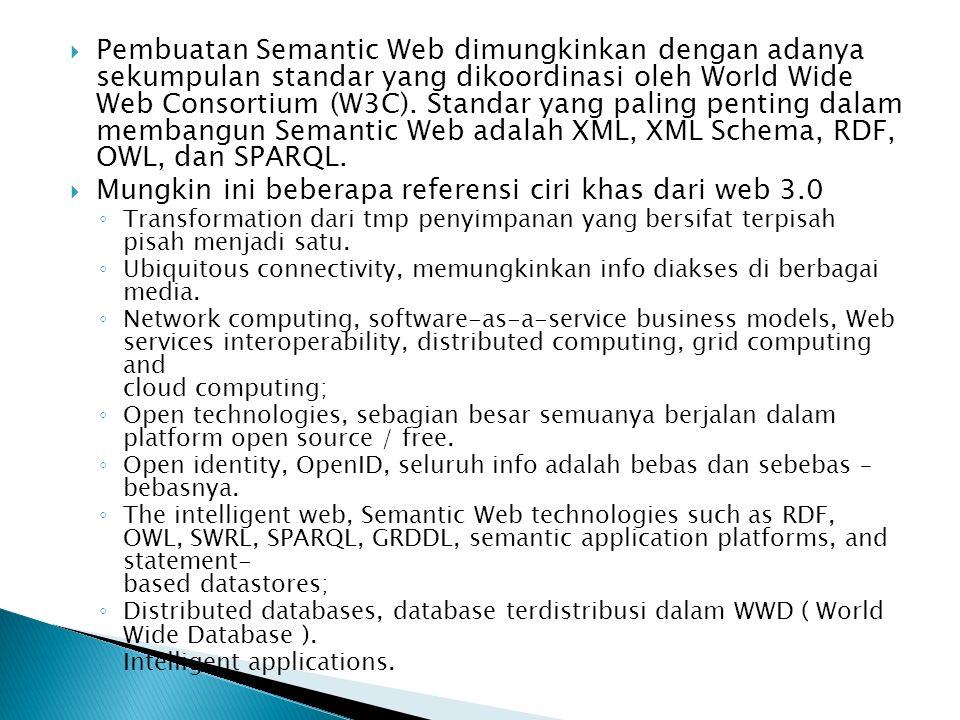 Pembuatan Semantic Web dimungkinkan dengan adanya sekumpulan standar yang dikoordinasi oleh World Wide Web Consortium (W3C).