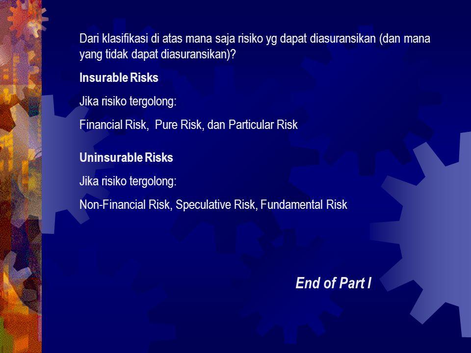 Dari klasifikasi di atas mana saja risiko yg dapat diasuransikan (dan mana yang tidak dapat diasuransikan).