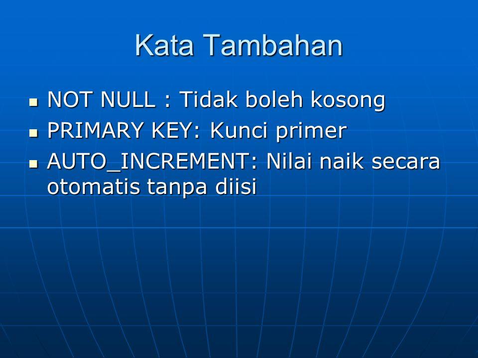 Kata Tambahan NOT NULL : Tidak boleh kosong NOT NULL : Tidak boleh kosong PRIMARY KEY: Kunci primer PRIMARY KEY: Kunci primer AUTO_INCREMENT: Nilai na