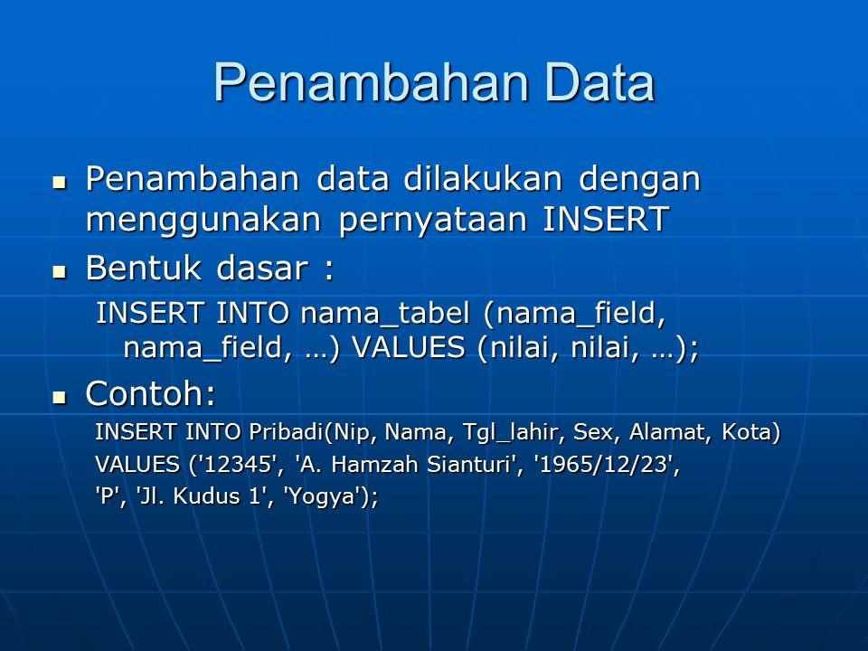 Penambahan Data Penambahan data dilakukan dengan menggunakan pernyataan INSERT Penambahan data dilakukan dengan menggunakan pernyataan INSERT Bentuk d