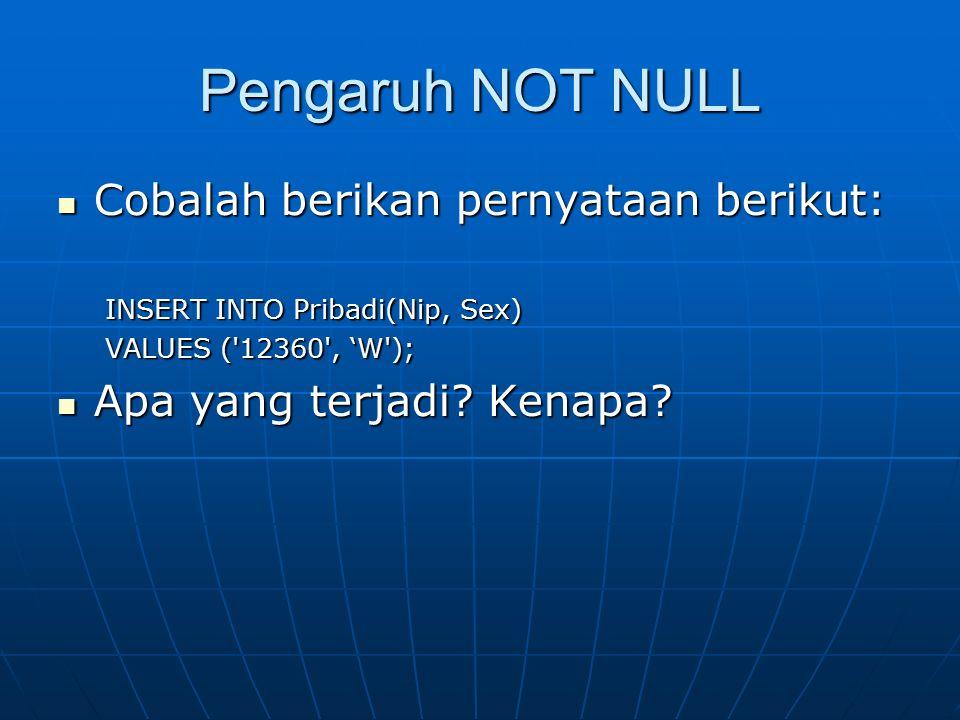 Pengaruh NOT NULL Cobalah berikan pernyataan berikut: Cobalah berikan pernyataan berikut: INSERT INTO Pribadi(Nip, Sex) VALUES ('12360', 'W'); Apa yan