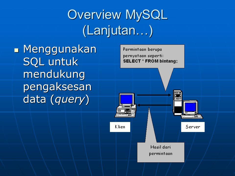 Overview MySQL (Lanjutan…) Menggunakan SQL untuk mendukung pengaksesan data (query) Menggunakan SQL untuk mendukung pengaksesan data (query)
