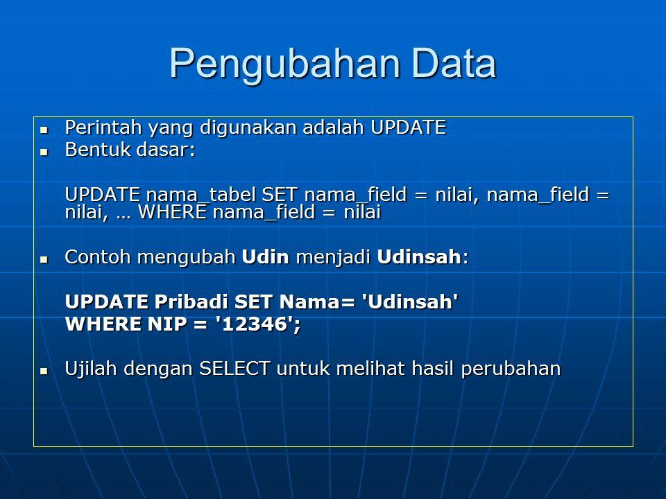 Pengubahan Data Perintah yang digunakan adalah UPDATE Perintah yang digunakan adalah UPDATE Bentuk dasar: Bentuk dasar: UPDATE nama_tabel SET nama_fie