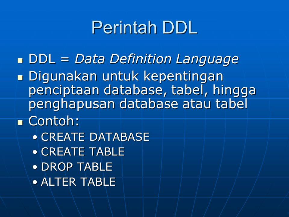 Perintah DDL DDL = Data Definition Language DDL = Data Definition Language Digunakan untuk kepentingan penciptaan database, tabel, hingga penghapusan