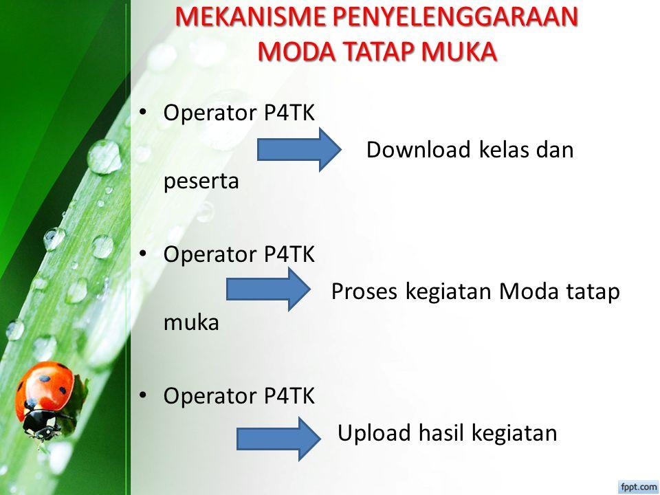 Disdik melaporakan kesiapan tatap muka ke P4TK P4TK Persetujuan atas permintaan disdik Disdik Pencetakan dan distibusi surat tugas ke peserta secara online