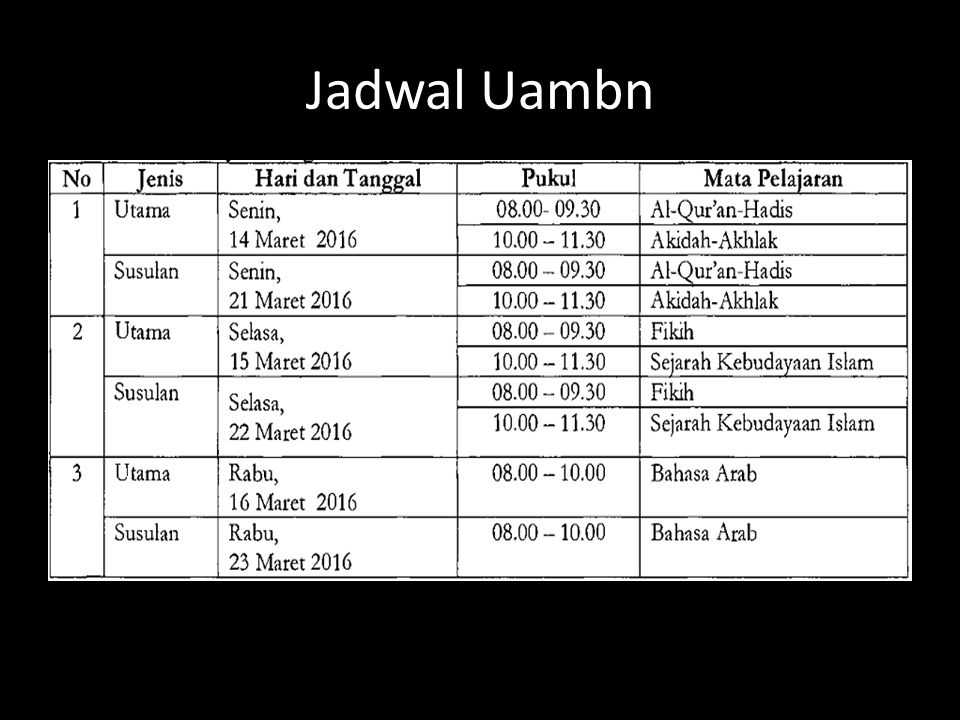 Jadwal Uambn