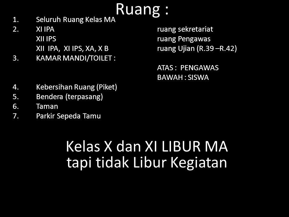 Ruang : 1.Seluruh Ruang Kelas MA 2.XI IPA ruang sekretariat XII IPS ruang Pengawas XII IPA, XI IPS, XA, X B ruang Ujian (R.39 –R.42) 3.