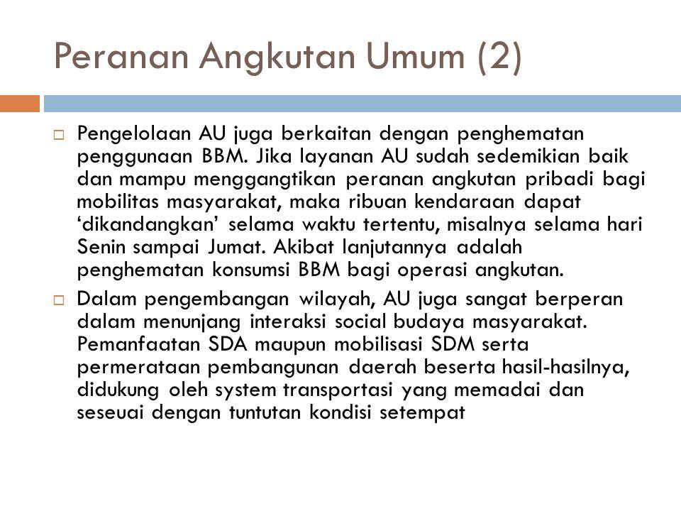 Peranan Angkutan Umum (2)  Pengelolaan AU juga berkaitan dengan penghematan penggunaan BBM.