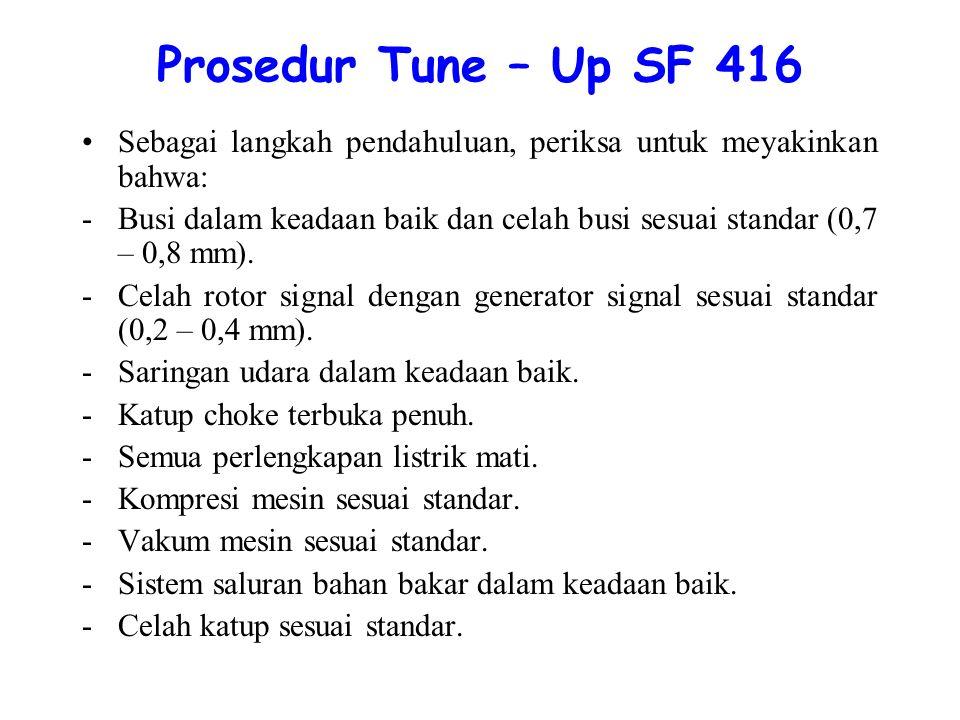 Prosedur Tune – Up SF 416 Sebagai langkah pendahuluan, periksa untuk meyakinkan bahwa: -Busi dalam keadaan baik dan celah busi sesuai standar (0,7 – 0,8 mm).