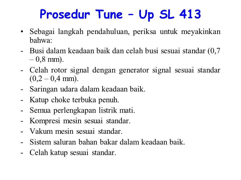 Prosedur Tune – Up SL 413 Sebagai langkah pendahuluan, periksa untuk meyakinkan bahwa: -Busi dalam keadaan baik dan celah busi sesuai standar (0,7 – 0,8 mm).
