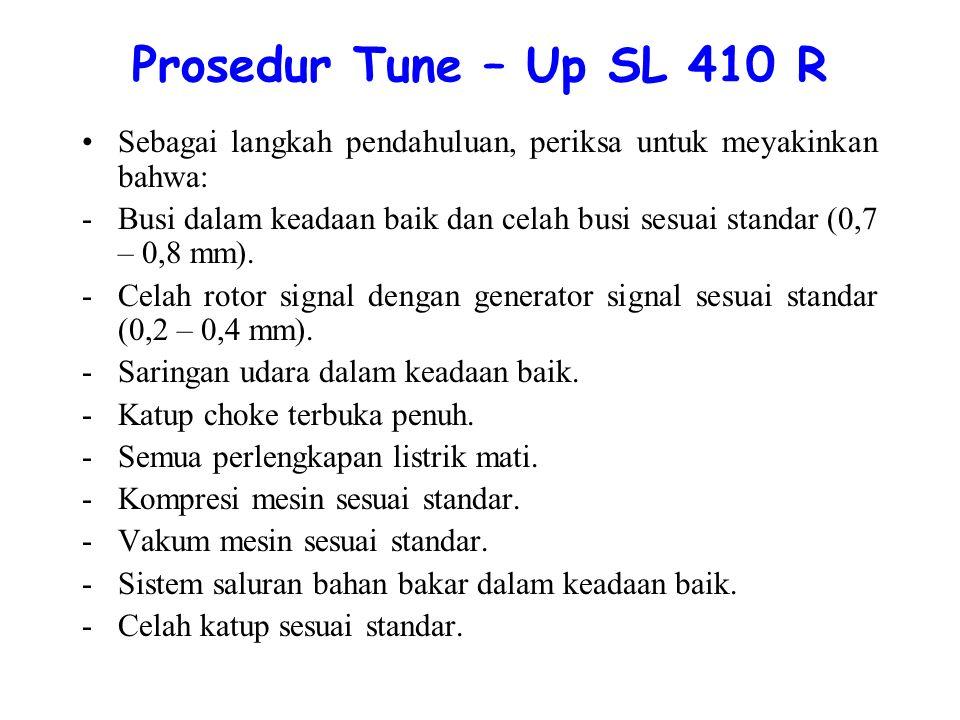 Prosedur Tune – Up SL 410 R Sebagai langkah pendahuluan, periksa untuk meyakinkan bahwa: -Busi dalam keadaan baik dan celah busi sesuai standar (0,7 – 0,8 mm).