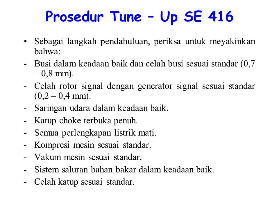 Prosedur Tune – Up SE 416 Sebagai langkah pendahuluan, periksa untuk meyakinkan bahwa: -Busi dalam keadaan baik dan celah busi sesuai standar (0,7 – 0