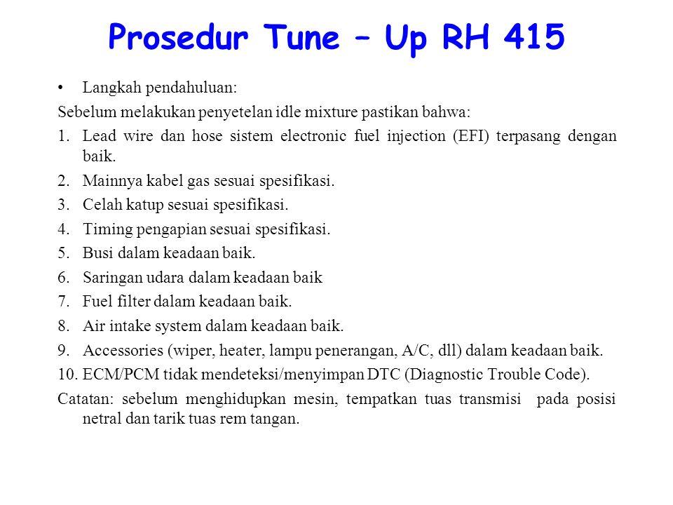 Prosedur Tune – Up RH 415 Langkah pendahuluan: Sebelum melakukan penyetelan idle mixture pastikan bahwa: 1.Lead wire dan hose sistem electronic fuel injection (EFI) terpasang dengan baik.