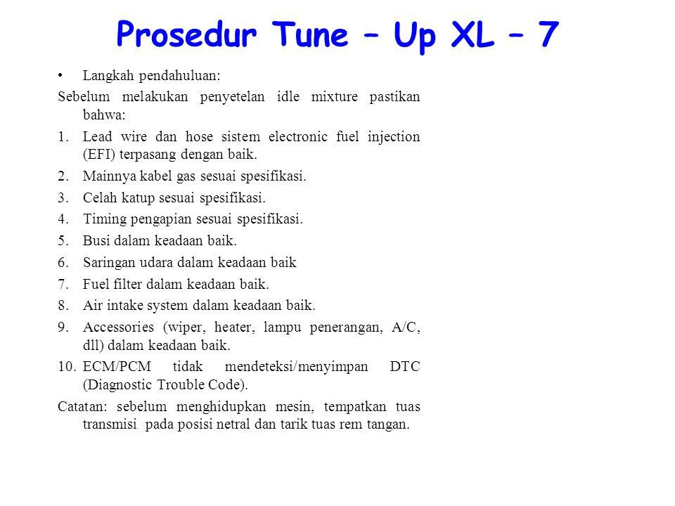 Prosedur Tune – Up XL – 7 Langkah pendahuluan: Sebelum melakukan penyetelan idle mixture pastikan bahwa: 1.Lead wire dan hose sistem electronic fuel injection (EFI) terpasang dengan baik.