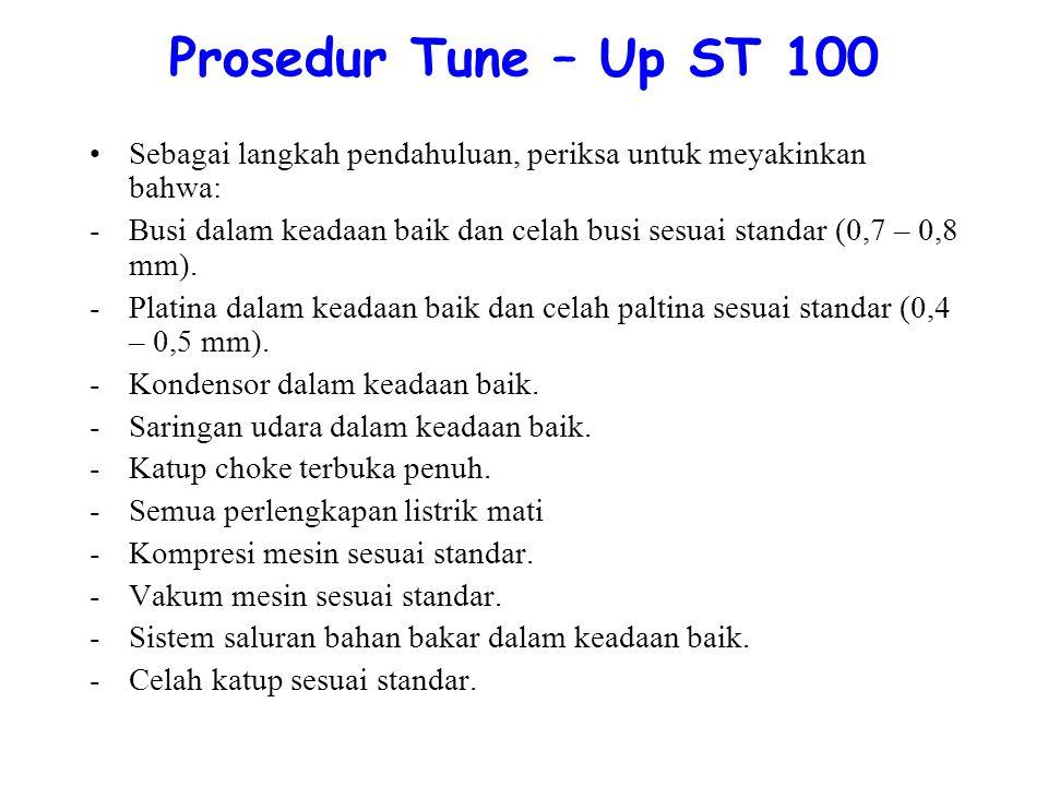 Prosedur Tune – Up ST 100 Sebagai langkah pendahuluan, periksa untuk meyakinkan bahwa: -Busi dalam keadaan baik dan celah busi sesuai standar (0,7 – 0,8 mm).