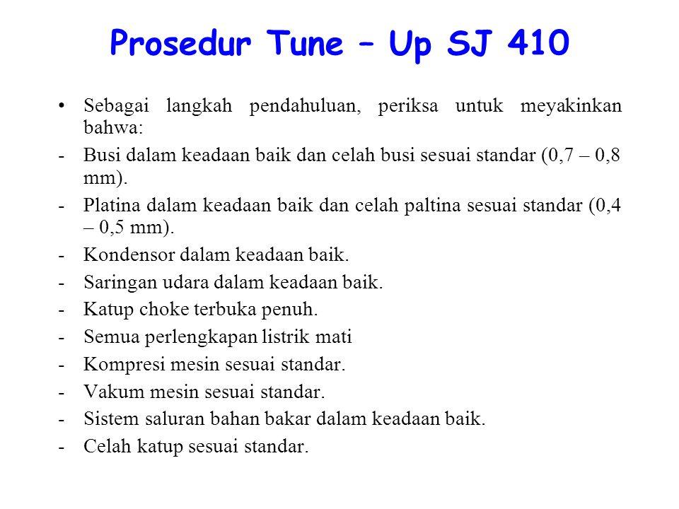 Prosedur Tune – Up SJ 410 Sebagai langkah pendahuluan, periksa untuk meyakinkan bahwa: -Busi dalam keadaan baik dan celah busi sesuai standar (0,7 – 0,8 mm).