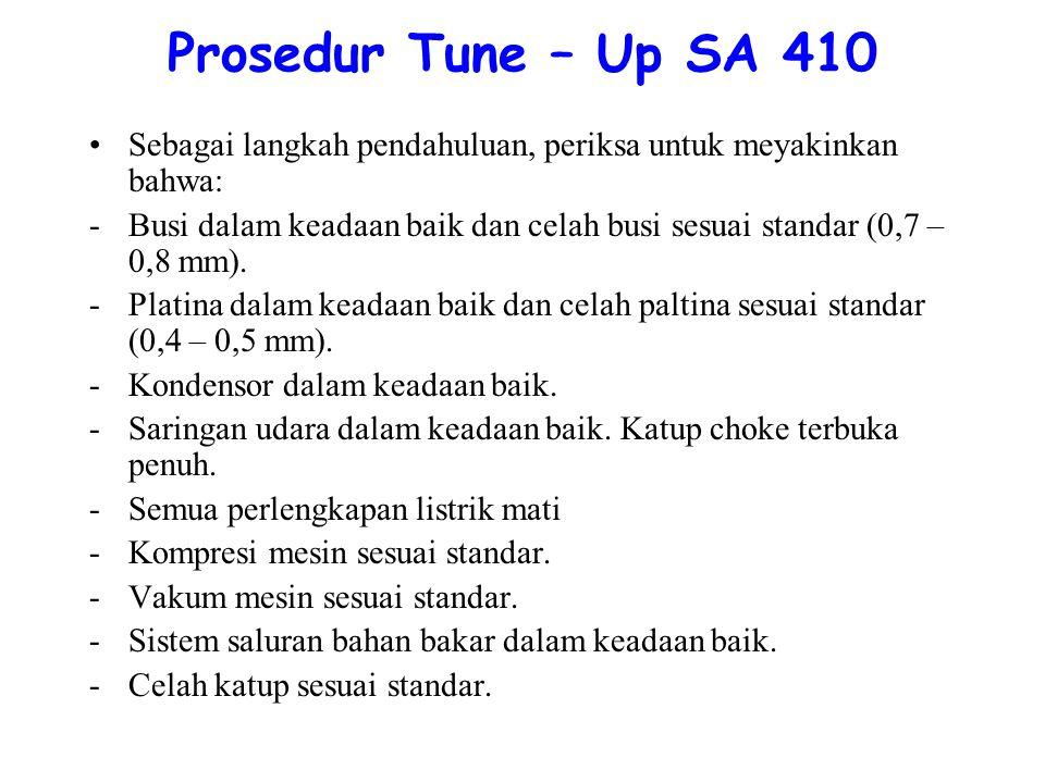 Prosedur Tune – Up SA 410 Sebagai langkah pendahuluan, periksa untuk meyakinkan bahwa: -Busi dalam keadaan baik dan celah busi sesuai standar (0,7 – 0,8 mm).