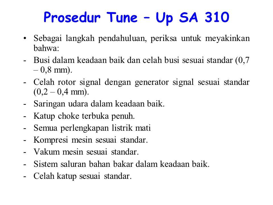 Prosedur Tune – Up SA 310 Sebagai langkah pendahuluan, periksa untuk meyakinkan bahwa: -Busi dalam keadaan baik dan celah busi sesuai standar (0,7 – 0,8 mm).