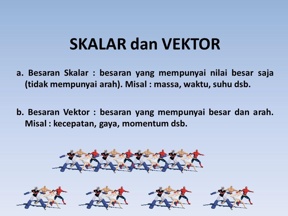 SKALAR dan VEKTOR a. Besaran Skalar : besaran yang mempunyai nilai besar saja (tidak mempunyai arah). Misal : massa, waktu, suhu dsb. b. Besaran Vekto