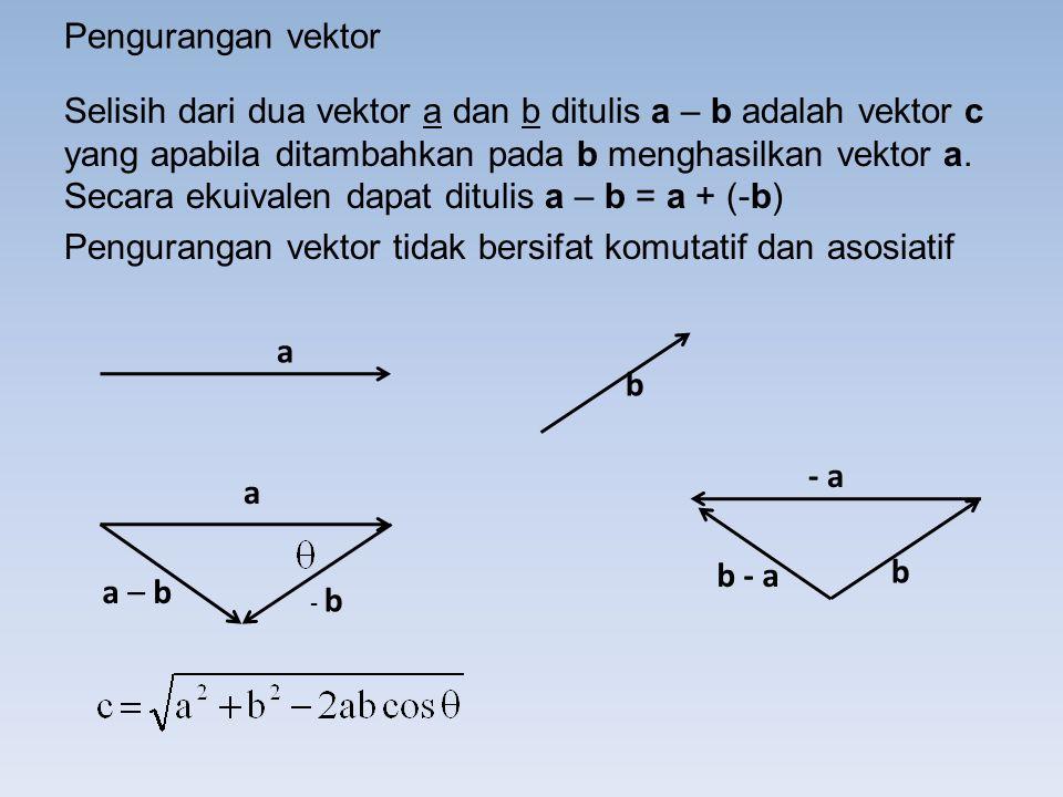 Pengurangan vektor Selisih dari dua vektor a dan b ditulis a – b adalah vektor c yang apabila ditambahkan pada b menghasilkan vektor a.