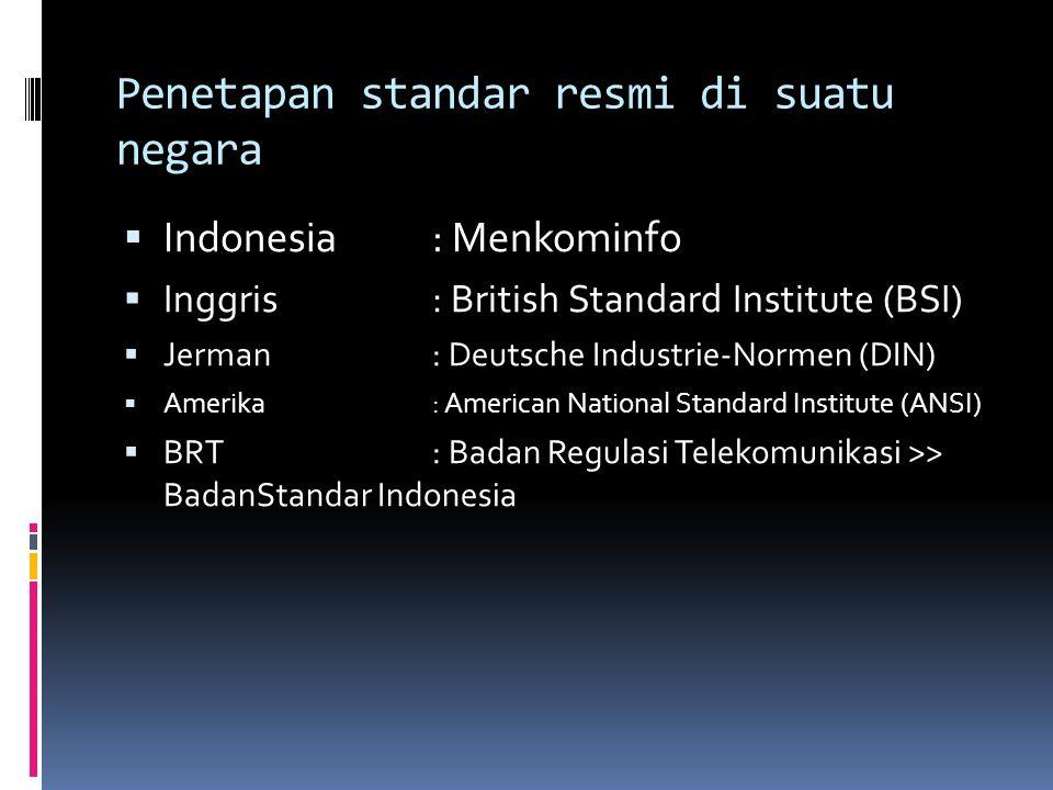 Penetapan standar resmi di suatu negara  Indonesia : Menkominfo  Inggris : British Standard Institute (BSI)  Jerman : Deutsche Industrie-Normen (DI