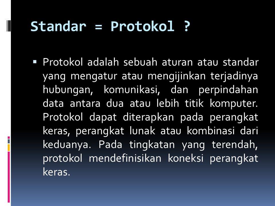 Standar = Protokol ?  Protokol adalah sebuah aturan atau standar yang mengatur atau mengijinkan terjadinya hubungan, komunikasi, dan perpindahan data