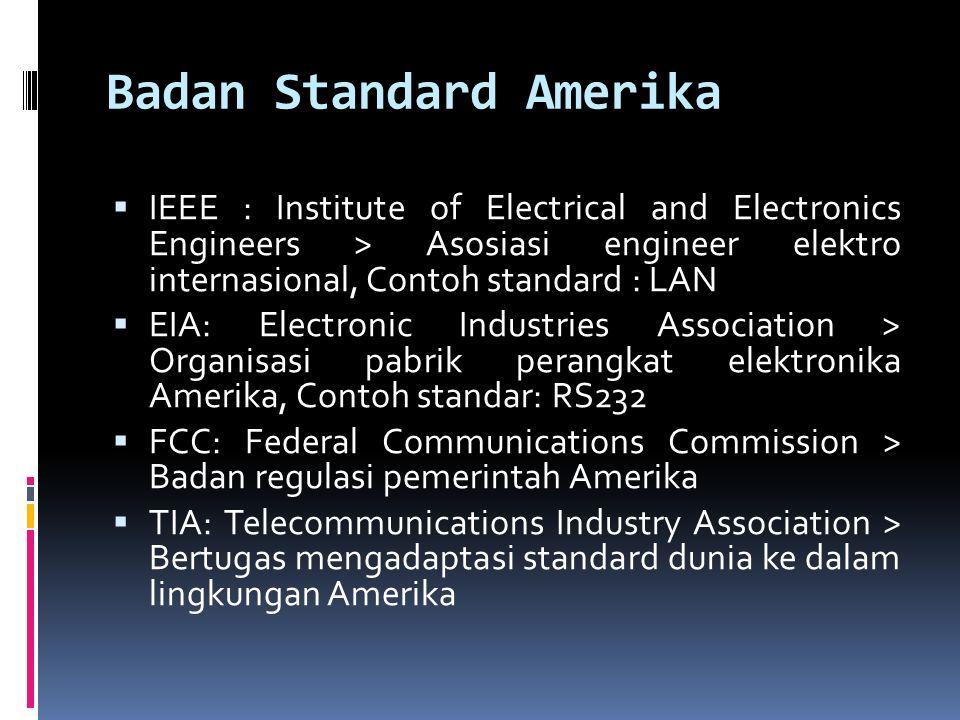 Badan Standard Amerika  IEEE : Institute of Electrical and Electronics Engineers > Asosiasi engineer elektro internasional, Contoh standard : LAN  E