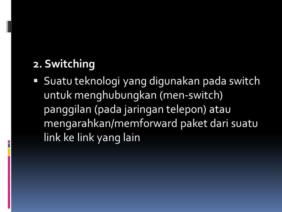 2. Switching  Suatu teknologi yang digunakan pada switch untuk menghubungkan (men-switch) panggilan (pada jaringan telepon) atau mengarahkan/memforwa