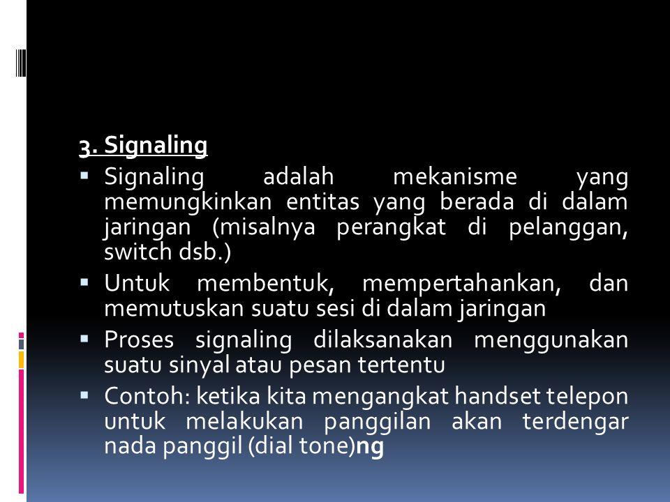 3. Signaling  Signaling adalah mekanisme yang memungkinkan entitas yang berada di dalam jaringan (misalnya perangkat di pelanggan, switch dsb.)  Unt