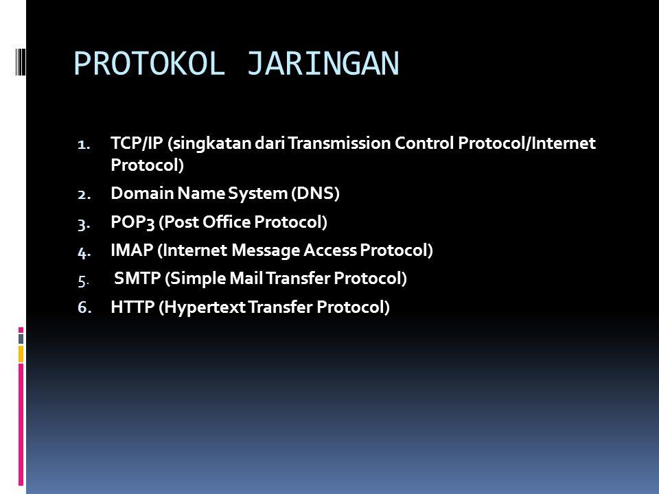 PROTOKOL JARINGAN 1. TCP/IP (singkatan dari Transmission Control Protocol/Internet Protocol) 2. Domain Name System (DNS) 3. POP3 (Post Office Protocol