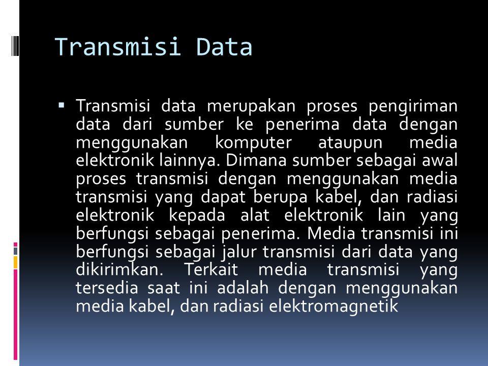 Transmisi Data  Transmisi data merupakan proses pengiriman data dari sumber ke penerima data dengan menggunakan komputer ataupun media elektronik lai