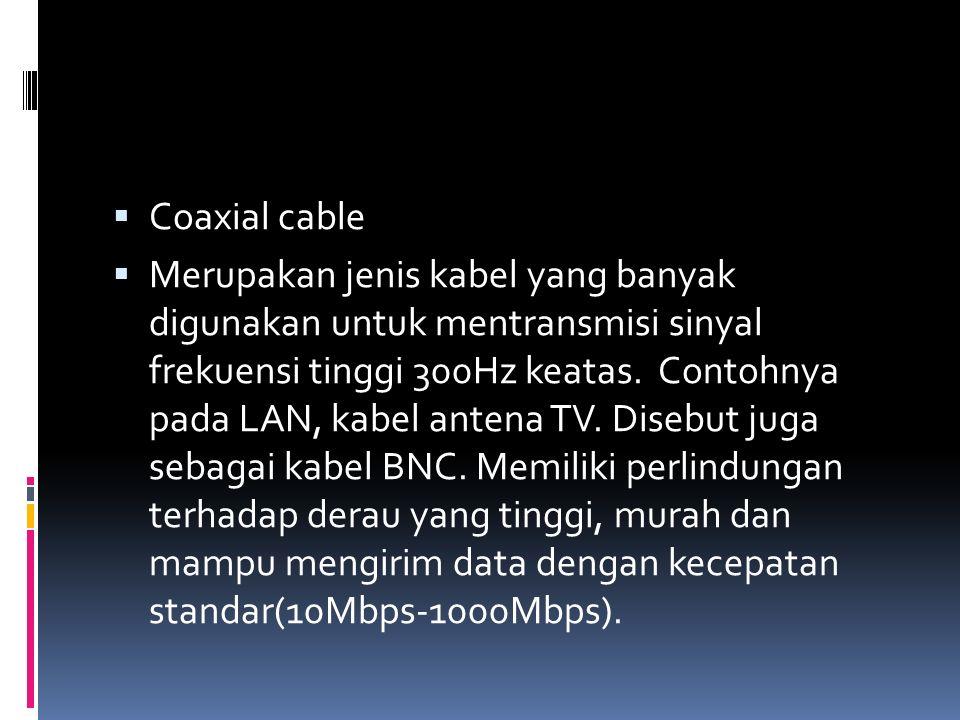  Coaxial cable  Merupakan jenis kabel yang banyak digunakan untuk mentransmisi sinyal frekuensi tinggi 300Hz keatas. Contohnya pada LAN, kabel anten