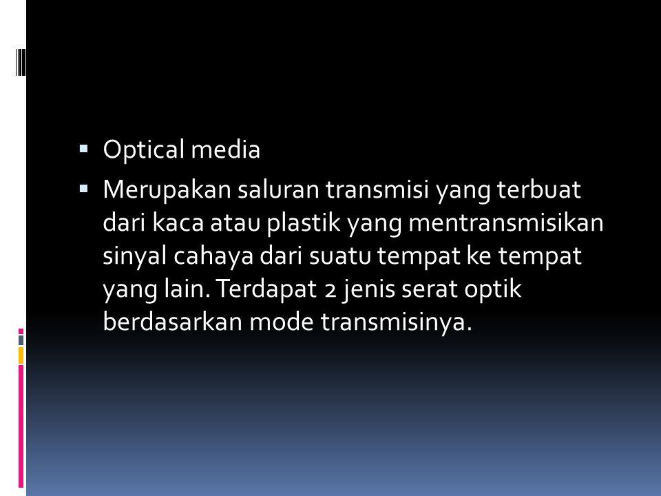  Optical media  Merupakan saluran transmisi yang terbuat dari kaca atau plastik yang mentransmisikan sinyal cahaya dari suatu tempat ke tempat yang