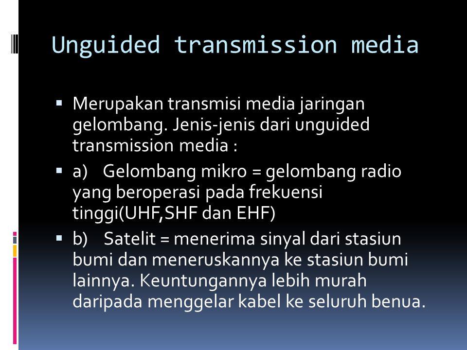 Unguided transmission media  Merupakan transmisi media jaringan gelombang. Jenis-jenis dari unguided transmission media :  a) Gelombang mikro = gelo
