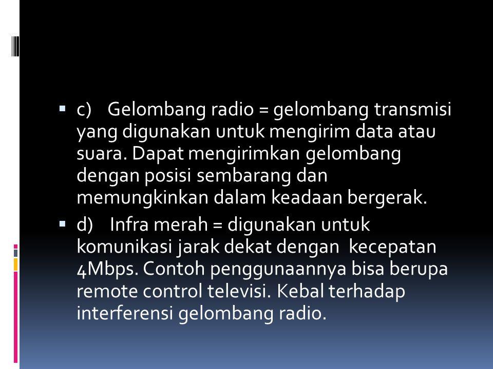  c) Gelombang radio = gelombang transmisi yang digunakan untuk mengirim data atau suara. Dapat mengirimkan gelombang dengan posisi sembarang dan memu