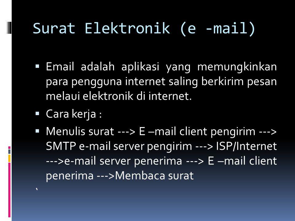 Surat Elektronik (e -mail)  Email adalah aplikasi yang memungkinkan para pengguna internet saling berkirim pesan melaui elektronik di internet.  Car