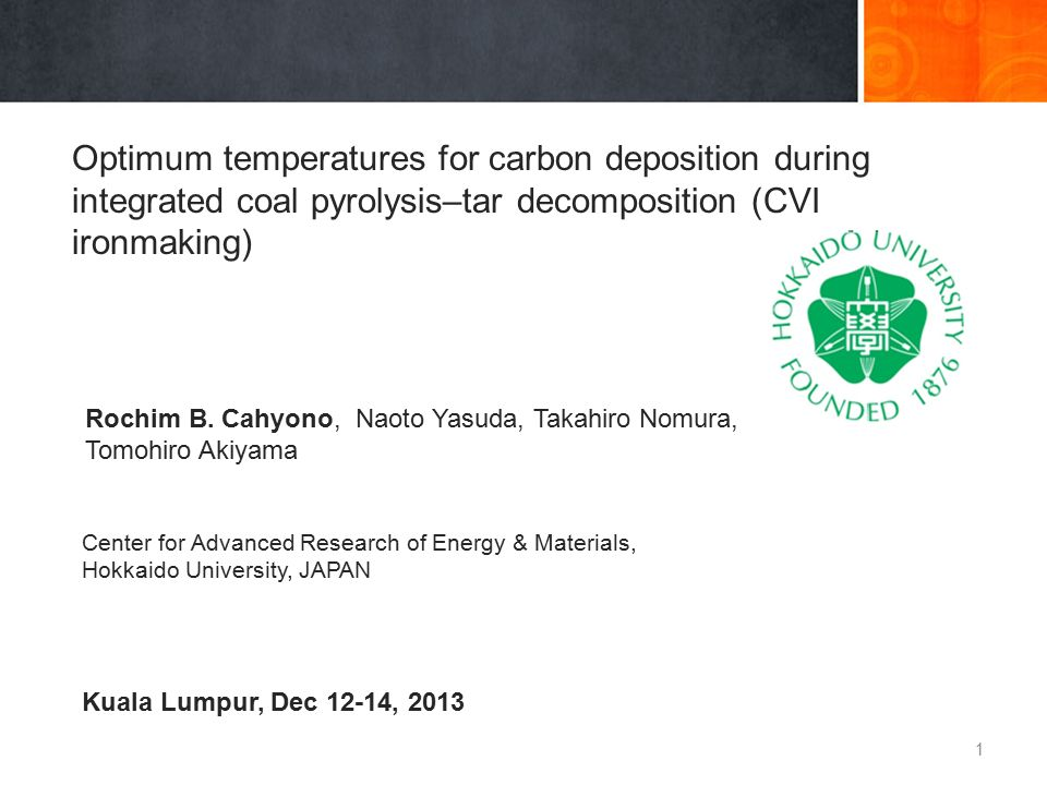 Conclusions  The highest deposited carbon was obtained at tar decomposition temperature of 600 o C.