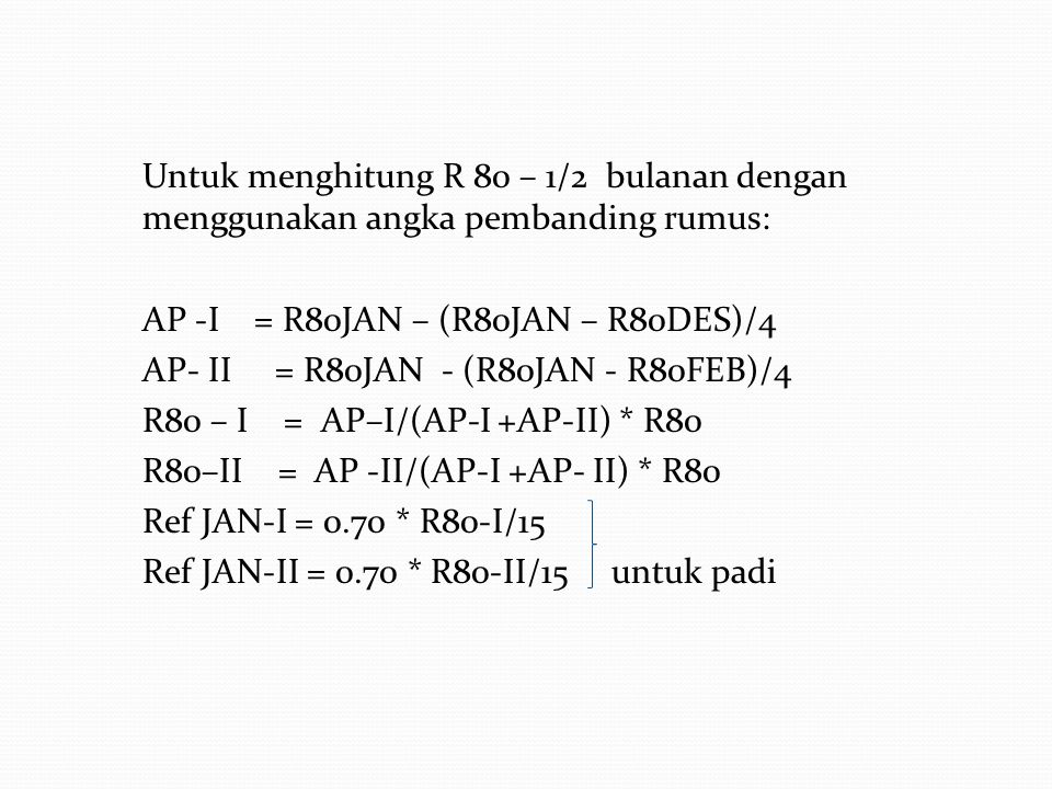 Cara menghitung Curah Hujan Effektif (Re) 1.