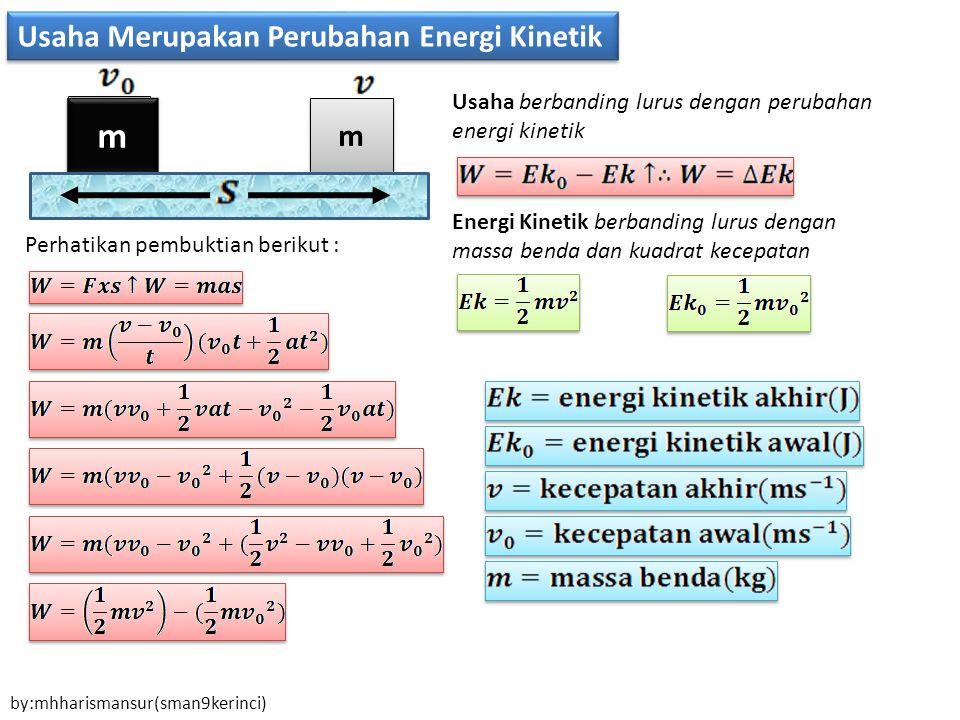 m m Usaha Merupakan Perubahan Energi Kinetik m m m m Perhatikan pembuktian berikut : Usaha berbanding lurus dengan perubahan energi kinetik Energi Kinetik berbanding lurus dengan massa benda dan kuadrat kecepatan by:mhharismansur(sman9kerinci)