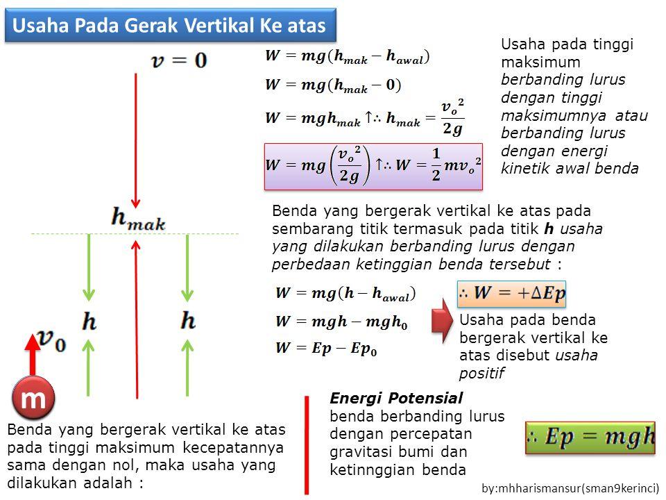 m m m m m m m m m m Usaha Pada Gerak Vertikal Ke atas by:mhharismansur(sman9kerinci) Benda yang bergerak vertikal ke atas pada tinggi maksimum kecepatannya sama dengan nol, maka usaha yang dilakukan adalah : Usaha pada tinggi maksimum berbanding lurus dengan tinggi maksimumnya atau berbanding lurus dengan energi kinetik awal benda Benda yang bergerak vertikal ke atas pada sembarang titik termasuk pada titik h usaha yang dilakukan berbanding lurus dengan perbedaan ketinggian benda tersebut : Usaha pada benda bergerak vertikal ke atas disebut usaha positif Energi Potensial benda berbanding lurus dengan percepatan gravitasi bumi dan ketinnggian benda