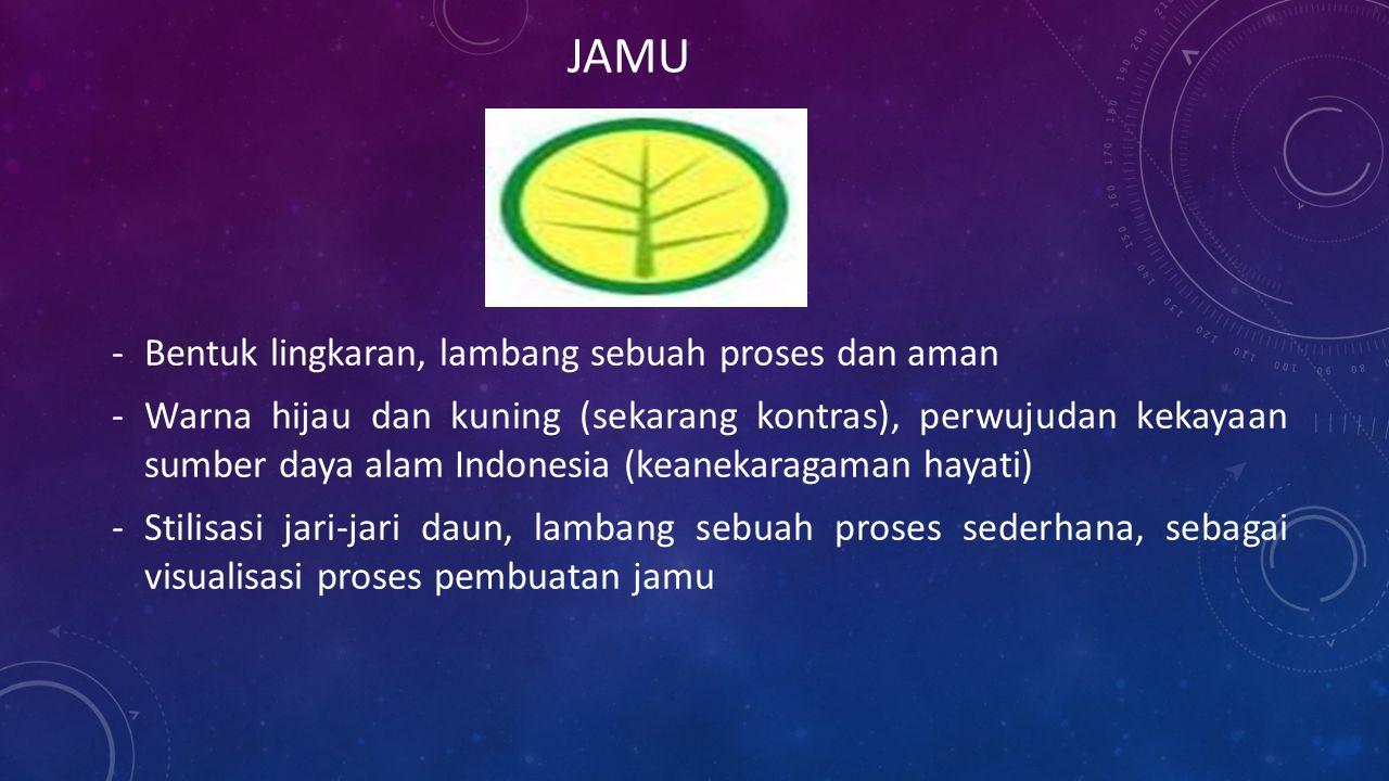 -Bentuk lingkaran, lambang sebuah proses dan aman -Warna hijau dan kuning (sekarang kontras), perwujudan kekayaan sumber daya alam Indonesia (keanekaragaman hayati) -Stilisasi jari-jari daun, lambang sebuah proses sederhana, sebagai visualisasi proses pembuatan jamu JAMU