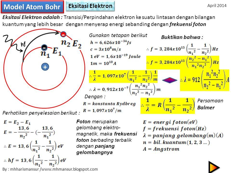 - Model Atom Bohr Eksitasi Elektron Eksitasi Elektron adalah : Transisi/Perpindahan elektron ke suatu lintasan dengan bilangan kuantum yang lebih besa