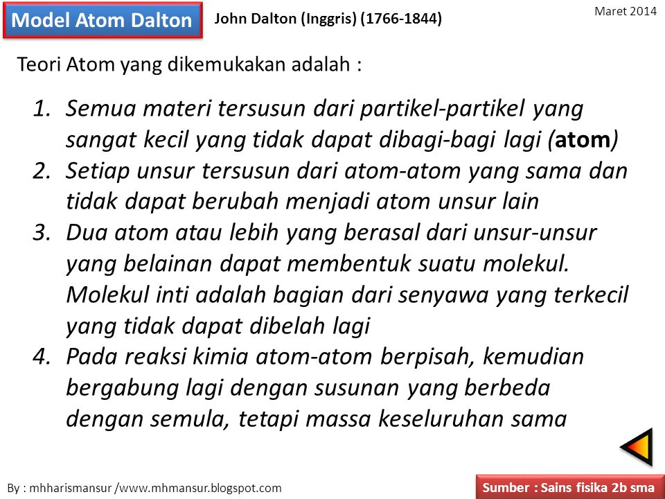 Model Atom Dalton John Dalton (Inggris) (1766-1844) Teori Atom yang dikemukakan adalah : 1.Semua materi tersusun dari partikel-partikel yang sangat ke