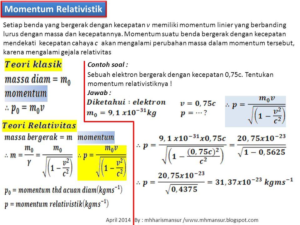 Momentum Relativistik Setiap benda yang bergerak dengan kecepatan v memiliki momentum linier yang berbanding lurus dengan massa dan kecepatannya. Mome