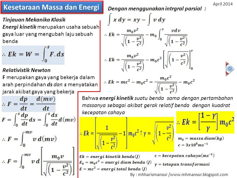Kesetaraan Massa dan Energi Tinjauan Mekanika Klasik Energi kinetik merupakan usaha sebuah gaya luar yang mengubah laju sebuah benda Relativistik Newt
